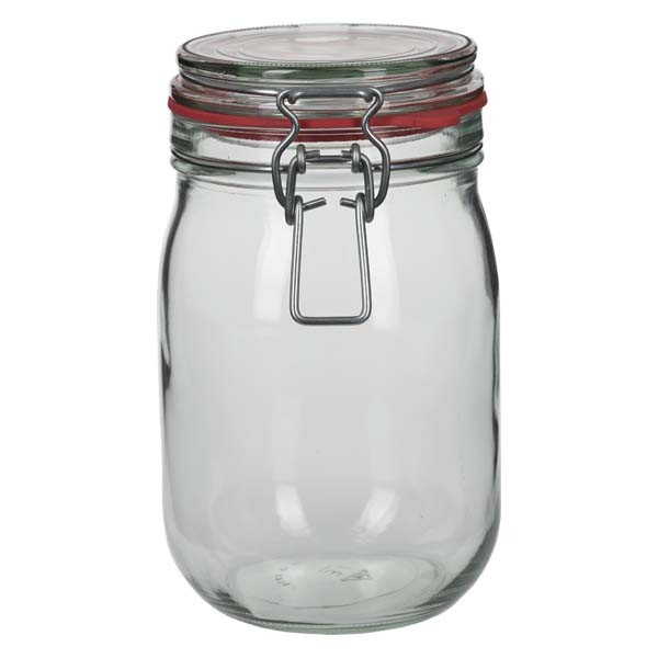 Einmachglas 1140 ml mit Drahtbügel und Dichtring, Drahtbügelglas, Vorratsglas