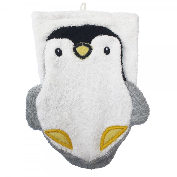BIO Waschhandschuh PINGUIN, Waschlappen aus 100% Bio Baumwolle