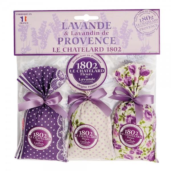 Duftsäckchen mit Lavendel und Lavandin, Design Violet, 3 Stück im Stoffbeutel