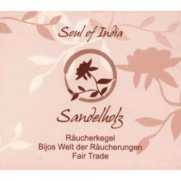 Indische Räucherkegel Sandelholz Soul of India Fair Trade, Räucherkerzen, 10 Stk, warm - beruhigend