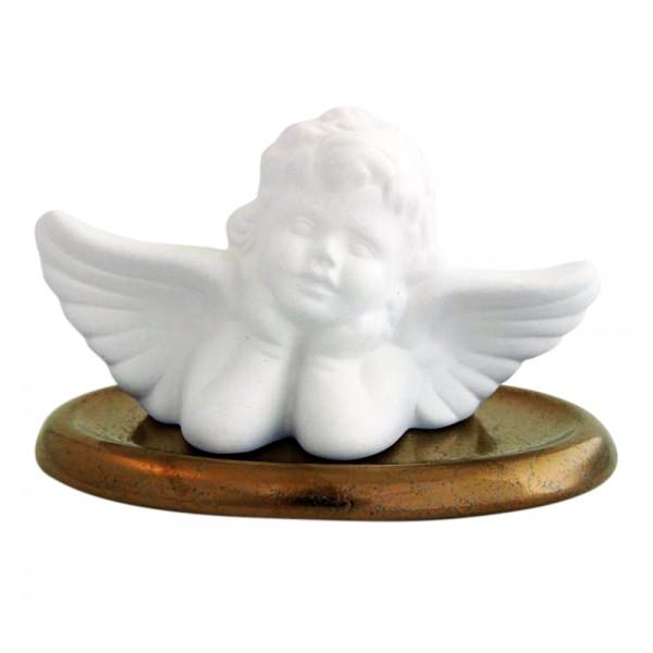 Duftkeramik Engel Raphael mit Unterteller in Gold, Duftstein für ätherische Öle