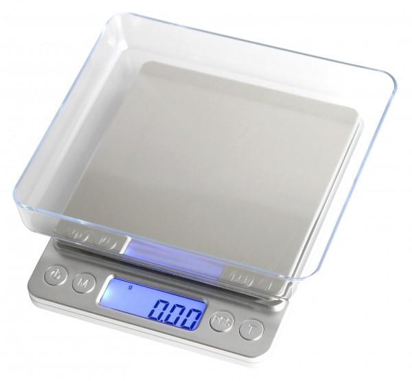 Digitale Präzisionswaage, Feinwaage 500g x 0,01g, beleuchtetes LCD Display, silber