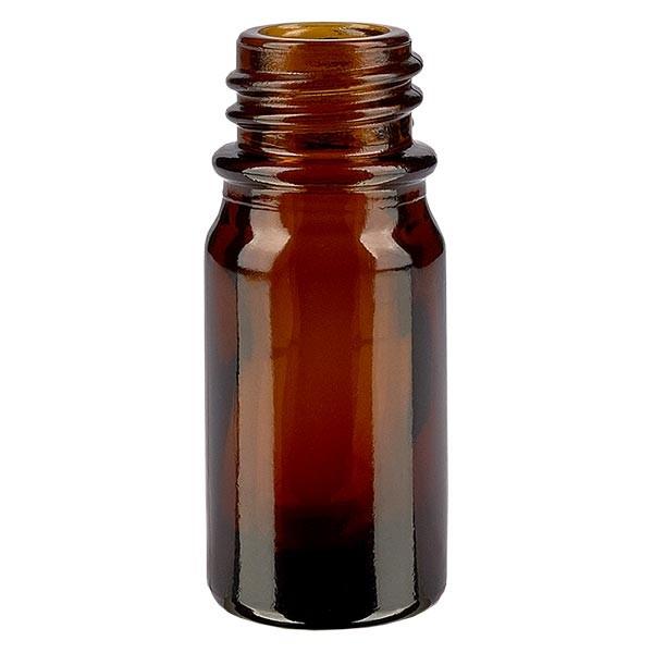 Braunglasflasche, 5 ml, Aromaflasche, Tropfflasche, Sprayflasche, Gewinde DIN 18, Apothekenqualität