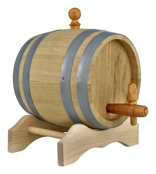 Holzfass mit Ständer 1 Liter, Eichenholzfass im Set mit Zubehör, Originelle Geschenkidee