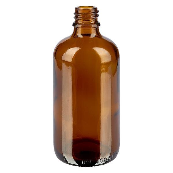 Braunglasflasche 100 ml, Aromaflasche, Tropfflasche, Sprayflasche Gewinde DIN 18, Apothekenqualität