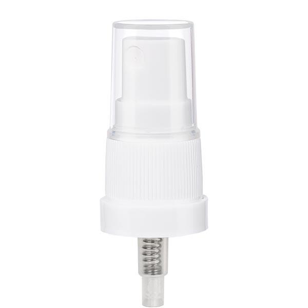 Pumpzerstäuber, Sprayaufsatz, Zerstäuber, weiß, mit Schutzkappe für Flaschen mit Gewinde DIN 18