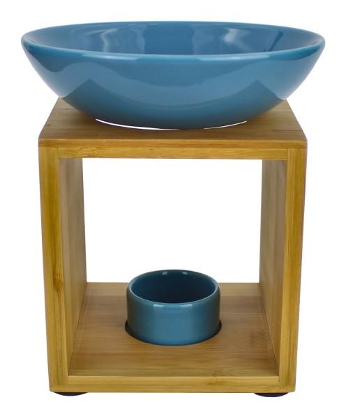Duftlampe MALMÖ Metallblau, große Schale, FAIR TRADE, Aromalampe aus Bambusholz und Keramik