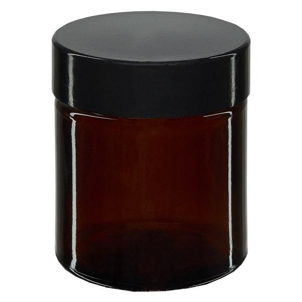 Glastiegel, Cremetiegel, Salbenglas aus Braunglas, schwarzer Bakelit Deckel, beste Apothekenqualität