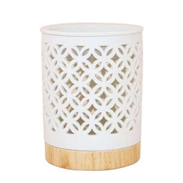 Duftlampe Manika, Keramik weiß, Holzoptik, 12x9,5cm