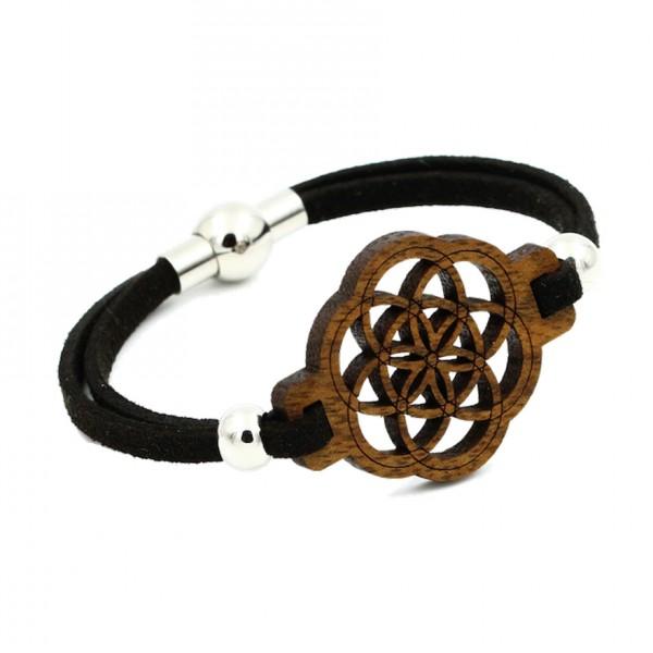Armband Samen des Lebens Classic 18 cm, Textilband mit Nussholz Ornament