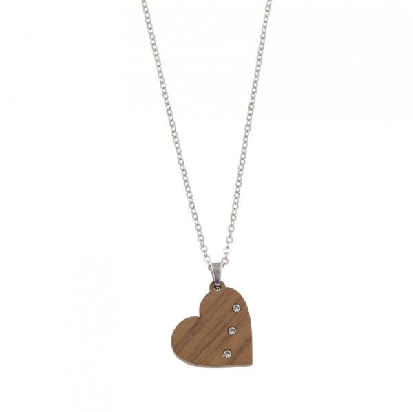 Halskette Herz Lumia Crystal, Edelstahlkette, Nussholz anhänger mit Kristallen