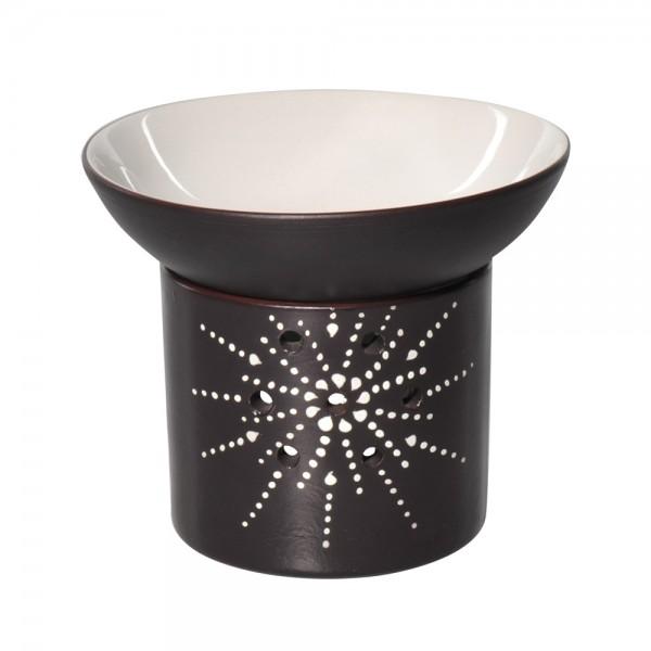 Duftlampe STERN Braun, große, abnehmbare Schale, FAIR TRADE, Aromalampe aus Keramik