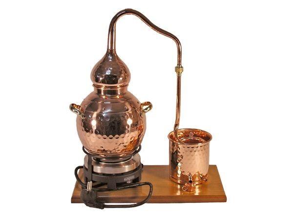 CopperGarden Destille Alembik 2 Liter, Destillieranlage, meldefrei, handgeschmiedet aus Kupfer mit e