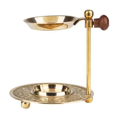 Weihrauchbrenner Tarut golden mit Pfanne, aus Messing, Stufenlos höhenverstellbar