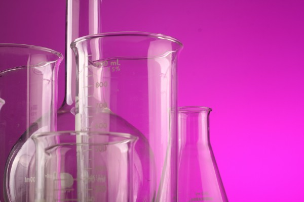 Simax Becherglas mit Henkel, hitzebeständiges Borosilikatglas 3.3, niedrige Form mit Ausguss und Ska