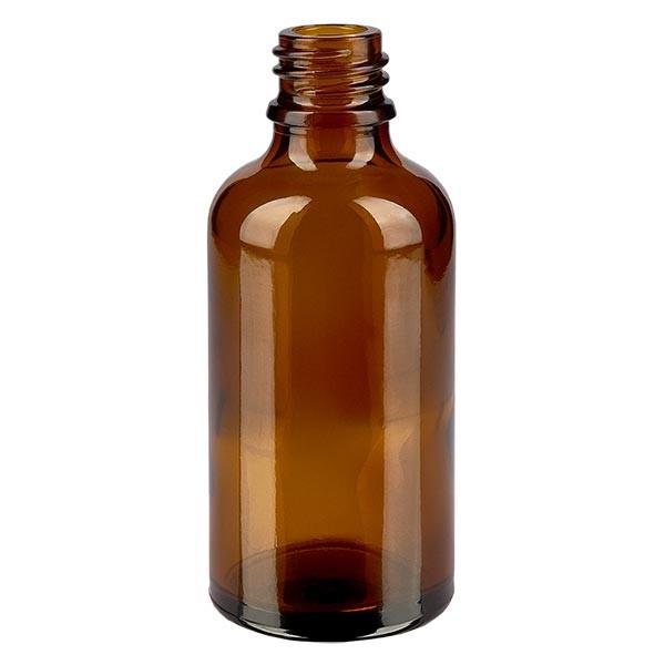 Braunglasflasche 50 ml, Aromaflasche, Tropfflasche, Sprayflasche, Gewinde DIN 18, Apothekenqualität