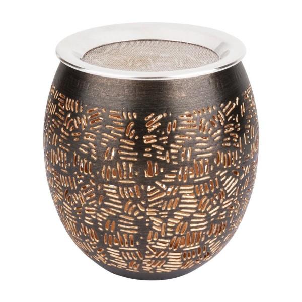 Weihrauchbrenner, Windlicht Asansol, Kupfer antik dunkel Gold mit Edelstahlsieb