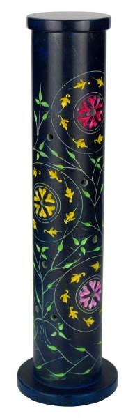 Räucherstäbchenturm, Usha, Räucherstäbchenhalter, Softstone, blau mit Blumen- und Blattmuster, 27 cm