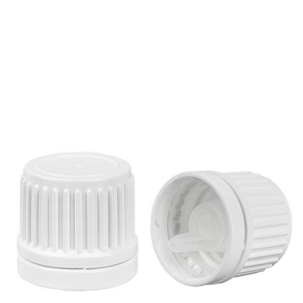 Schraubverschluss mit Tropfeinsatz 1 mm, weiß, Originalitätsring, für Flaschen mit Gewinde DIN 18