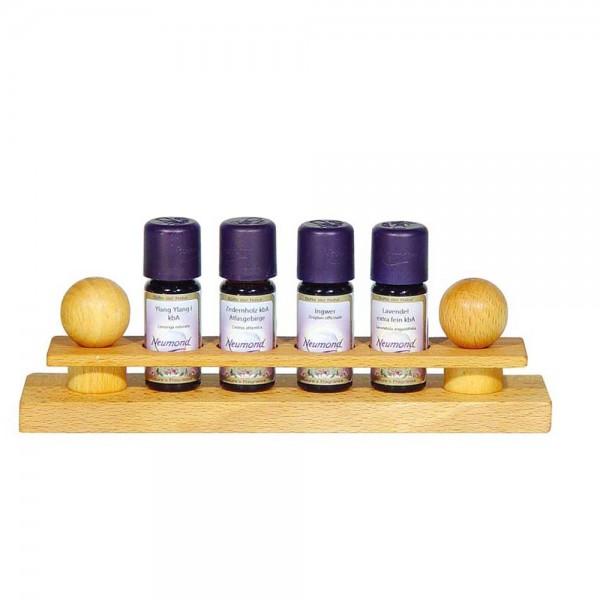 Duftölständer für 4 Flaschen ätherische Öle, Leerdisplay aus Buchenholz