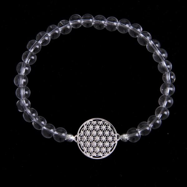 Armkette Bergkristall Blume des Lebens Silber 15 mm