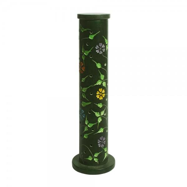 Räucherstäbchenturm, Yara, Räucherstäbchenhalter, Softstone, grün mit Blumenmuster, 27cm