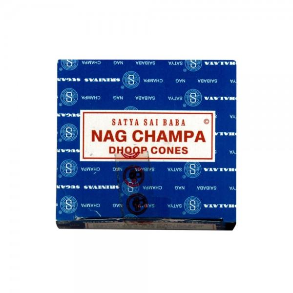 Indische Räucherkegel Nag Champa Sai Baba, Räucherkerzen 12 Stück mit Metall Unterteller