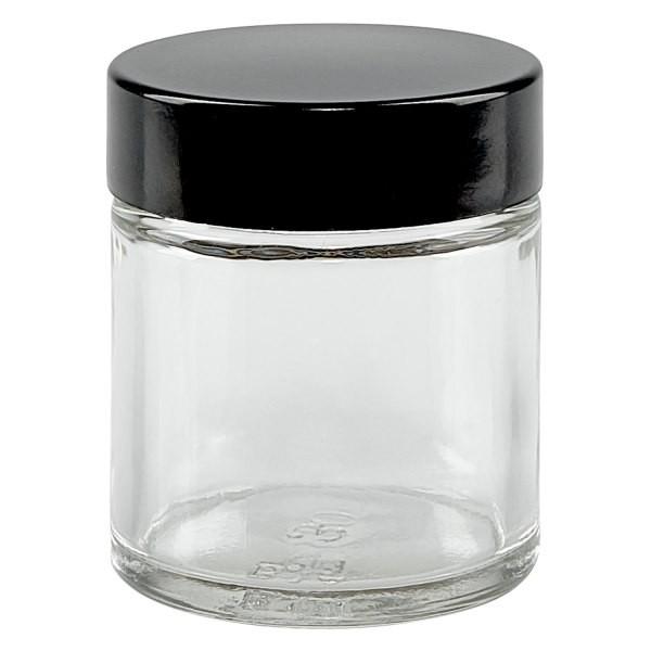 Glastiegel, Cremetiegel, Salbenglas aus Klarglas, schwarzer Bakelit Deckel, beste Apothekenqualität