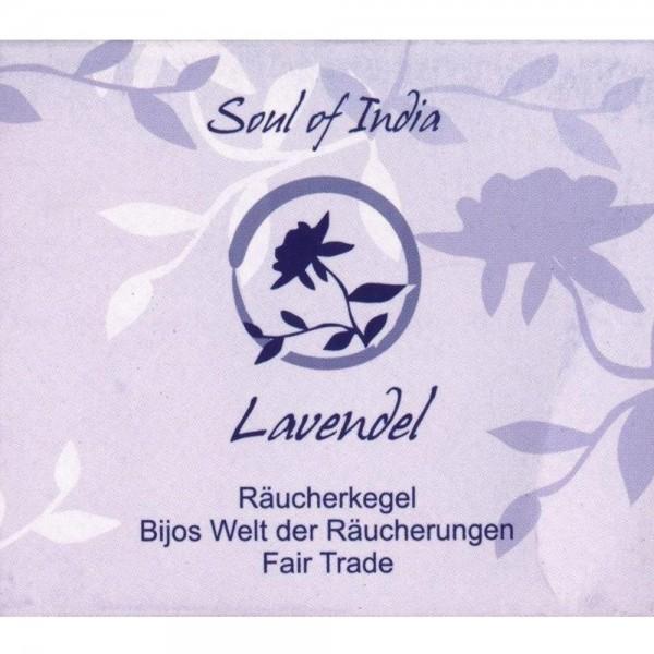 Räucherkegel Lavendel Soul of India FAIR TRADE, Räucherkerzen