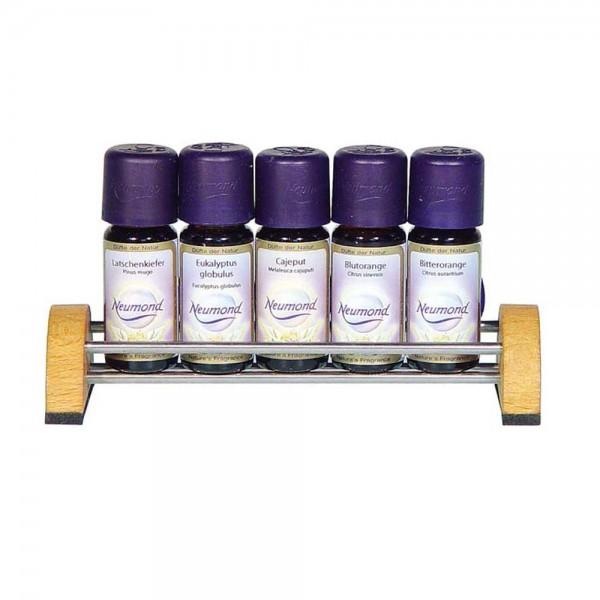 Duftölständer für 5 Flaschen ätherische Öle, Leerdisplay aus Buchenholz und Edelstahl