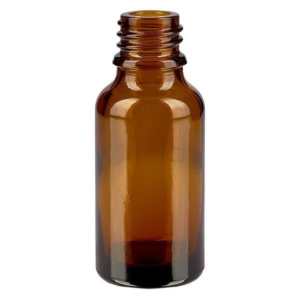 Braunglasflasche 20 ml, Aromaflasche, Tropfflasche, Sprayflasche, Gewinde DIN 18, Apothekenqualität