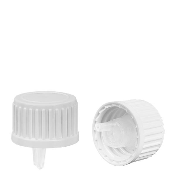 Schraubverschluss mit Tropfeinsatz 1 mm, weiß, für Flaschen mit Gewinde DIN 18, Standard