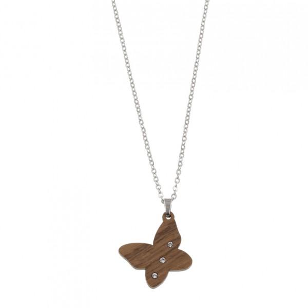 Halskette Schmetterling Lumia Crystal, Edelstahlkette, Nussholz Anhänger mit Kristallen