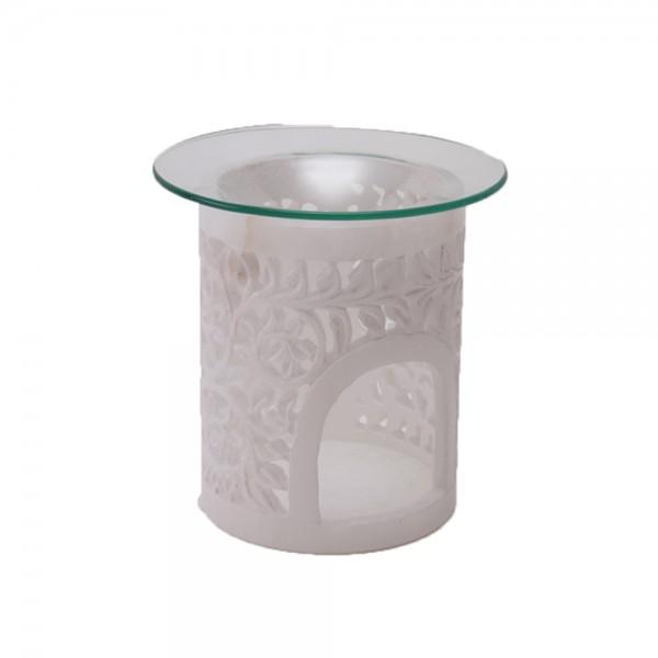 Duftlampe Lotos Alabaster mit Glasschale