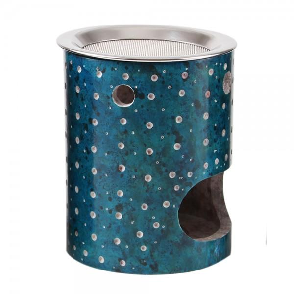 Weihrauchbrenner COSMOS turquoise FAIR TRADE, mit Edelstahlsieb