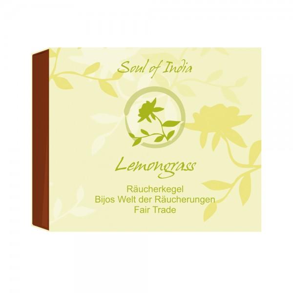 Indische Räucherkegel Lemongrass Soul of India Fair Trade, Räucherkerzen, 10 Stk, erfrischend