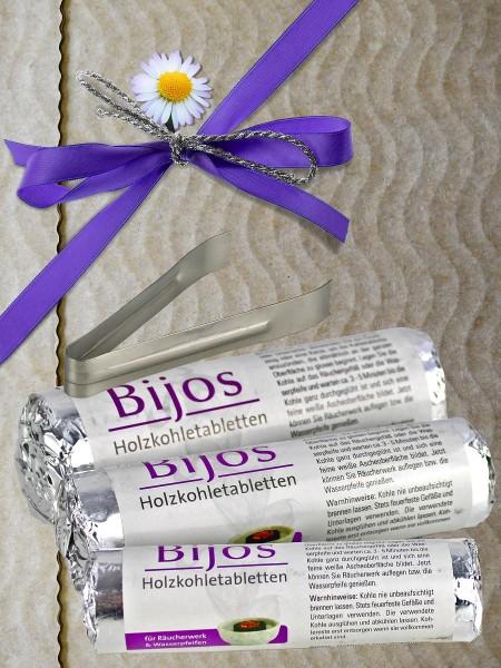 Bijos Holzkohletabletten Set mit je 10 Stück (1 Rolle) 33, 40 und 50 mm und Zange, Räucherkohle aus