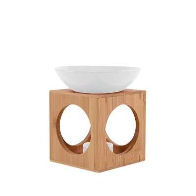 Duftlampe OSLO Weiß, große Schale, FAIR TRADE, Aromalampe aus Bambusholz und Keramik